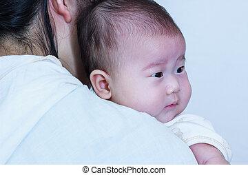 休む, 彼女, 母, アジアの少女, 日, celebration., shoulder.