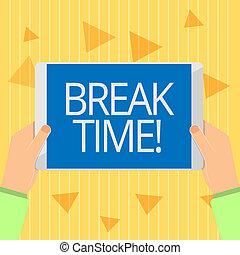 休む, 概念, テキスト, リラックス, 休暇, 期間, 壊れなさい, 意味, time., 手書き, ホリデー, うまくいきなさい