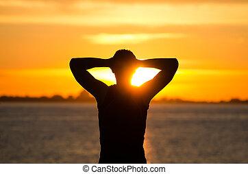 休む, 浜, 日の出, 人