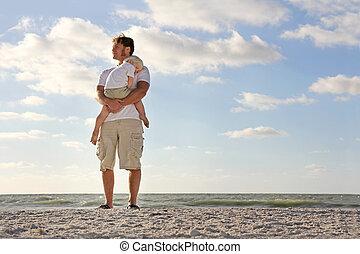 休む, 若い, 海洋, 父, 腕, 子供, 浜