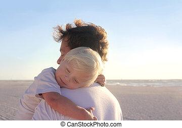 休む, 若い, 腕, 父, 子供, 浜