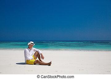休む, relax., 旅行, 休暇, summer., 成功した, 人, エキゾチック, 浜。