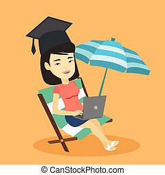 休息室, 輕便馬車, laptop., 躺, 畢業生