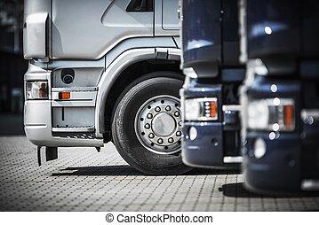 休息, 卡車, 半, 區域