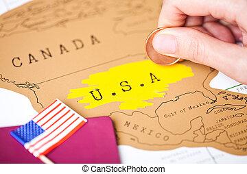 休日の旅行, 概念, パスポート, アメリカ