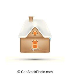休日の 家, 雪, ホリデー, ベクトル, roof., 年, 新しい, 要素, クリスマス