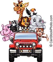 休日, アフリカ, 動物, 幸せ