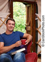 休日, キャンプ, yurt, 贅沢, 肖像画, 楽しむ, 人