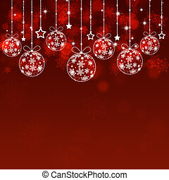 休日, クリスマス, ボール, 赤い背景