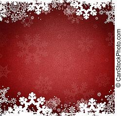 休日, クリスマス, 氷, 雪片, 赤い背景