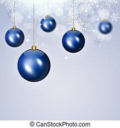 休日, クリスマス, 青, ボール