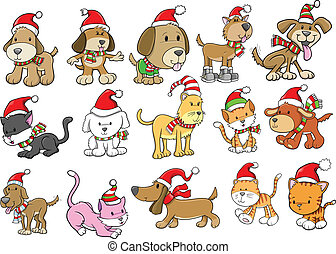 休日, セット, 犬, クリスマス, ねこ