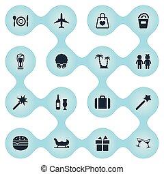 休日, ベクトル, 子供, icons., synonyms, 要素, セット, 島, エール, 大袈裟な表情をしなさい...