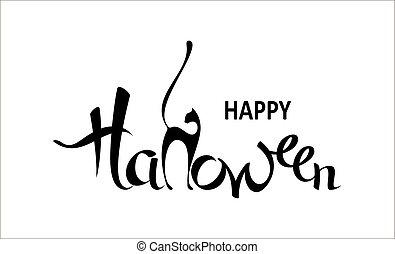 休日, ポスター, カード, ハロウィーン, 挨拶, バックグラウンド。, 招待, パーティー, 白, カリグラフィー, 旗, 幸せ