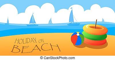 休日, 上に, 浜