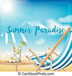 休日, 上に, 浜, 夏, ∥で∥, 飲み物
