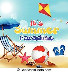 休日, 上に, 浜, 夏
