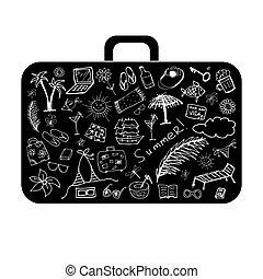 休日, 夏, デザイン, あなたの, スーツケース