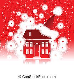 休日, 家, クリスマス, 冬