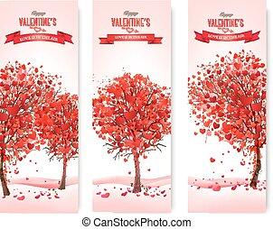 休日, 心の形をしている, 3, 木, バレンタイン, banners., ベクトル, leaves.
