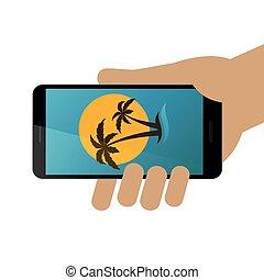 休日, 把握, アイコン, 手, smartphone, 夢