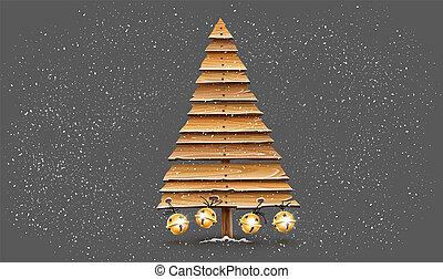休日, 板, jingle., クリスマス, 金, 古い, 木製である, 木