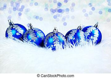 休日, 背景, クリスマス, 白, ボール, 青