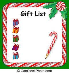 休日, 贈り物, リスト
