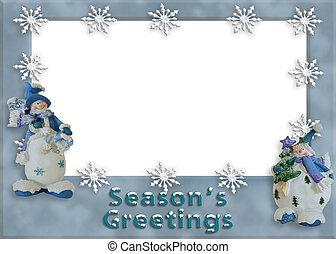 休日, 雪だるま, ボーダー, 写真, カード