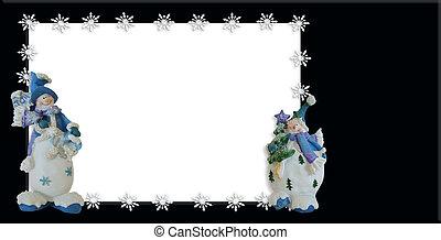 休日, 雪だるま, 写真, カード, ボーダー