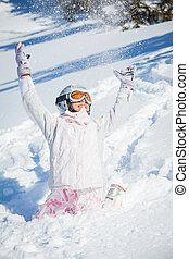 休暇, スキー, 冬, 女の子