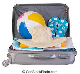 休暇, スーツケース, パックされた, フルである, 項目