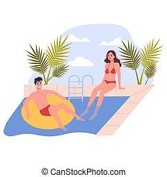 休暇, 人々, 旅行, 恋人, concept., pool., リラックスしなさい