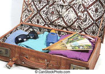 休暇, 夏, スーツケース, パックされた