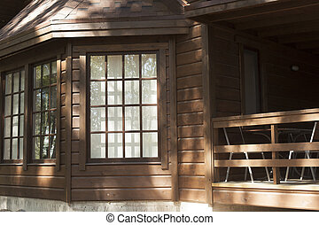 休暇 家, 作られた, の, 木材を伐採する