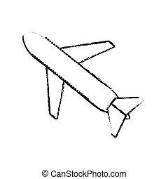 休暇, 飛行機, スケッチ, ビジネス 旅行