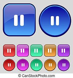 休止, ボタン, あなたの, セット, アイコン, 12, 印。, 型, design.