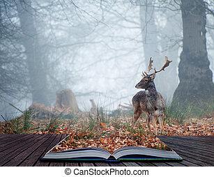 休闲的鹿, 不可思议, stag, 书, 页