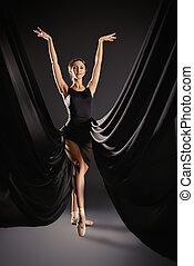 优美, 美麗, 芭蕾舞舞蹈演員, 矯柔造作, 在, studio., 藝術, concept.