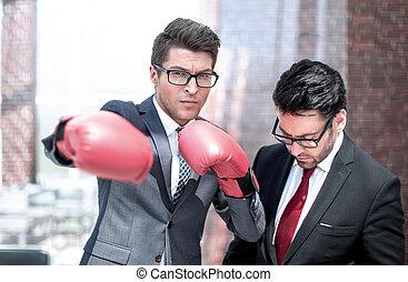 会いなさい, ビジネスマン, 競争相手, 若い, 準備