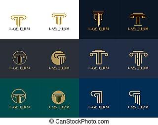 会社, デザイン, ロゴ, 法律, セット