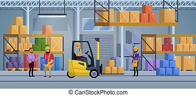 会社, ベクトル, 重量, 仕事, 中, process., concept., delivering., box., 内部, illustration., ロジスティックである, 包装, 積込み機, 工場, トラック, サービス, 商品, 貨物, 分配倉庫