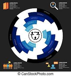 会社, &, マンパワー, 関係した, 仕事, vector., infographics, 雇用