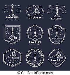 会社, ロゴ, セット, オフィス, スケール, 型, 提唱者, ラベル, badges., ベクトル, 正義, 小槌, 弁護士, 法律, illustrations.
