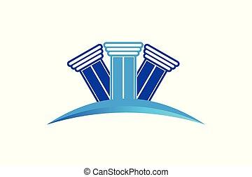 会社, ロゴ, 柱, 法律, デザイン
