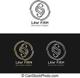 会社, ロゴ, 法律, オフィス, badges., 型, set., 提唱者, ラベル, 法的, 原則, ベクトル, 行為, icons., 司法上, 弁護士