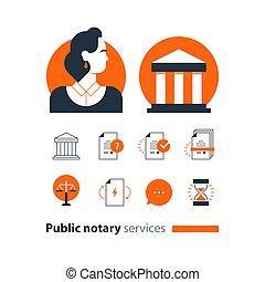 会社, 法律, アイコン, セット, certify, advocacy, 相談しなさい, サービス, notary, 文書, 公衆, 人