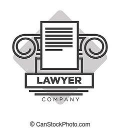 会社, 法的, 印, ベクトル, 弁護士, アイコン