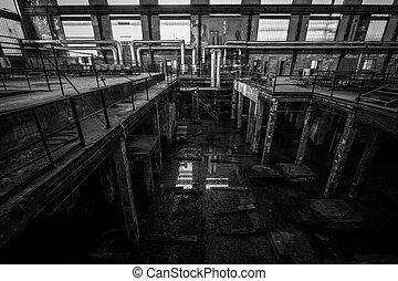 会社, 荒れ果てている, 古い, スペース, 中, metallurgical