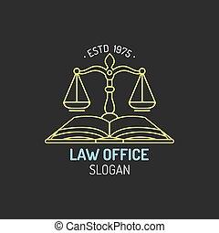会社, badge., illustration., オフィス, スケール, 正義, 型, 提唱者, ベクトル, ラベル, ロゴ, 司法上, 弁護士, 法律